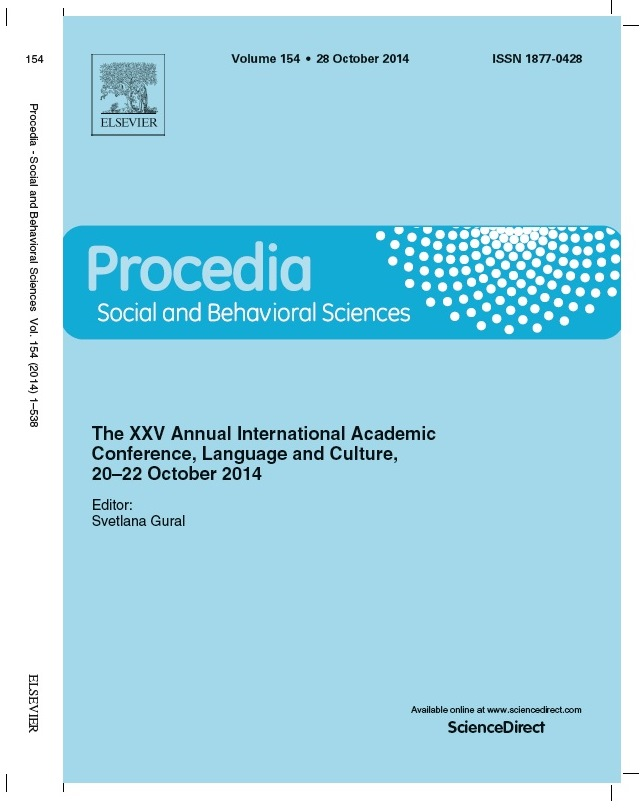 Procedia Social And Behavioral Sciences Volume 154 Pages 1 538